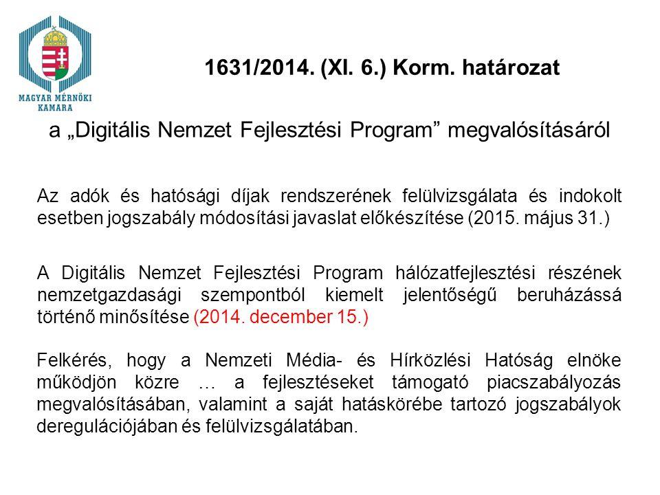 """1631/2014. (XI. 6.) Korm. határozat a """"Digitális Nemzet Fejlesztési Program"""" megvalósításáról Az adók és hatósági díjak rendszerének felülvizsgálata é"""