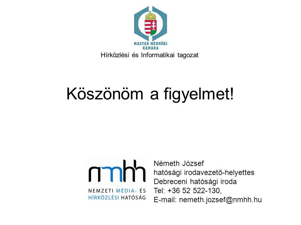 Köszönöm a figyelmet! Németh József hatósági irodavezető-helyettes Debreceni hatósági iroda Tel: +36 52 522-130, E-mail: nemeth.jozsef@nmhh.hu