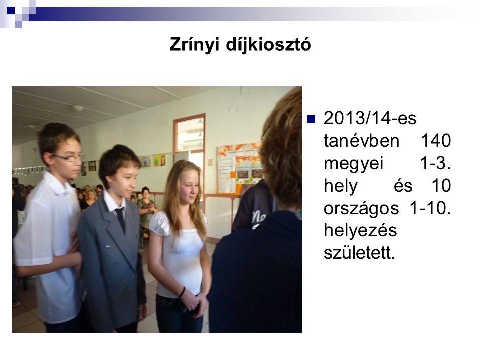 Zrínyi díjkiosztó 2013/14-es tanévben 140 megyei 1-3. hely és 10 országos 1-10. helyezés született.