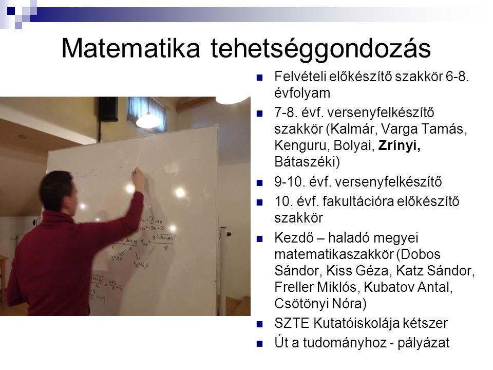 Matematika tehetséggondozás Felvételi előkészítő szakkör 6-8. évfolyam 7-8. évf. versenyfelkészítő szakkör (Kalmár, Varga Tamás, Kenguru, Bolyai, Zrín