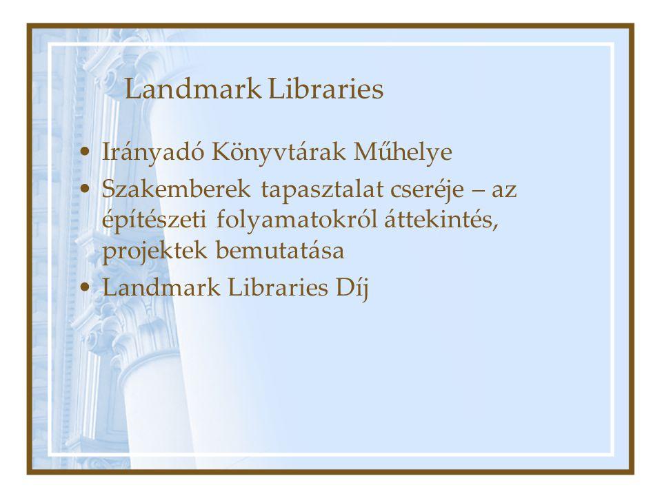 Landmark Libraries Irányadó Könyvtárak Műhelye Szakemberek tapasztalat cseréje – az építészeti folyamatokról áttekintés, projektek bemutatása Landmark Libraries Díj