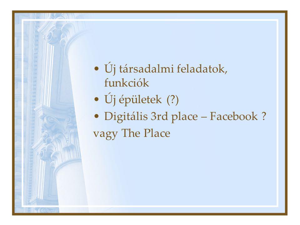 Új társadalmi feladatok, funkciók Új épületek (?) Digitális 3rd place – Facebook ? vagy The Place