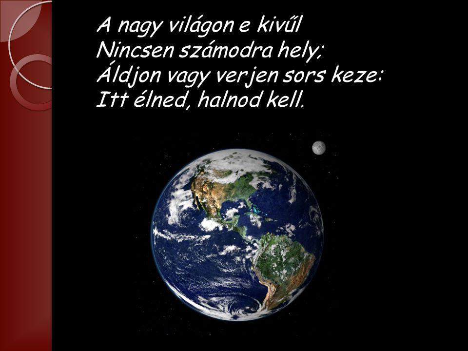 Légy híve rendületlenűl Hazádnak, oh magyar; Ez éltetőd, s ha elbukál, Hantjával ez takar.