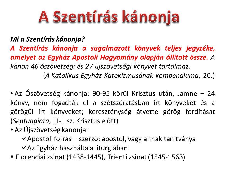 Mi a Szentírás kánonja? A Szentírás kánonja a sugalmazott könyvek teljes jegyzéke, amelyet az Egyház Apostoli Hagyomány alapján állított össze. A káno