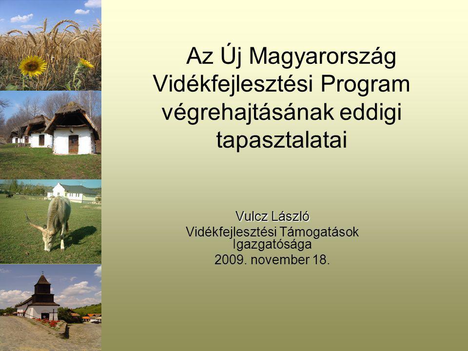 Az Új Magyarország Vidékfejlesztési Program végrehajtásának eddigi tapasztalatai Vulcz László Vidékfejlesztési Támogatások Igazgatósága 2009.