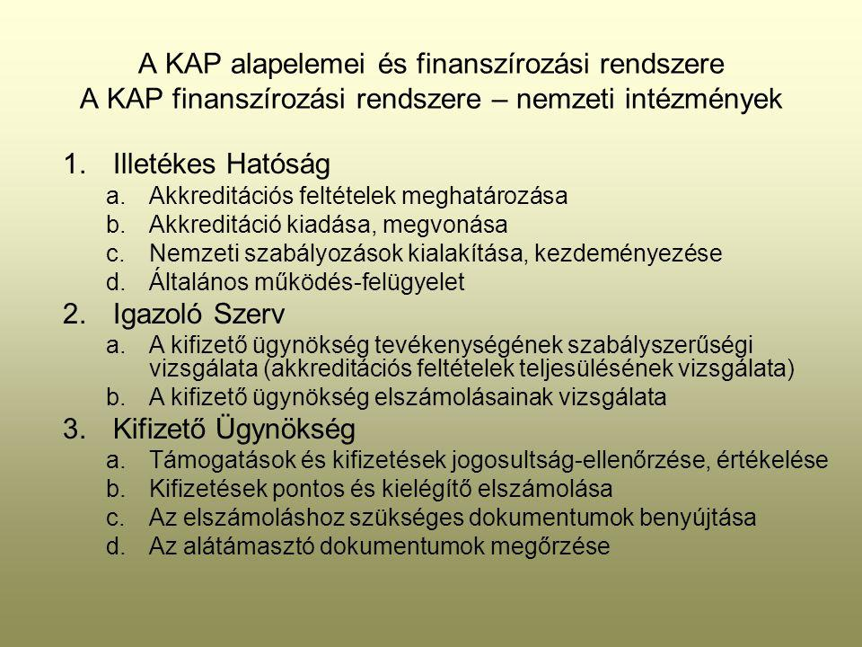 A KAP alapelemei és finanszírozási rendszere A KAP finanszírozási rendszere – nemzeti intézmények 1.Illetékes Hatóság a.Akkreditációs feltételek meghatározása b.Akkreditáció kiadása, megvonása c.Nemzeti szabályozások kialakítása, kezdeményezése d.Általános működés-felügyelet 2.Igazoló Szerv a.A kifizető ügynökség tevékenységének szabályszerűségi vizsgálata (akkreditációs feltételek teljesülésének vizsgálata) b.A kifizető ügynökség elszámolásainak vizsgálata 3.Kifizető Ügynökség a.Támogatások és kifizetések jogosultság-ellenőrzése, értékelése b.Kifizetések pontos és kielégítő elszámolása c.Az elszámoláshoz szükséges dokumentumok benyújtása d.Az alátámasztó dokumentumok megőrzése