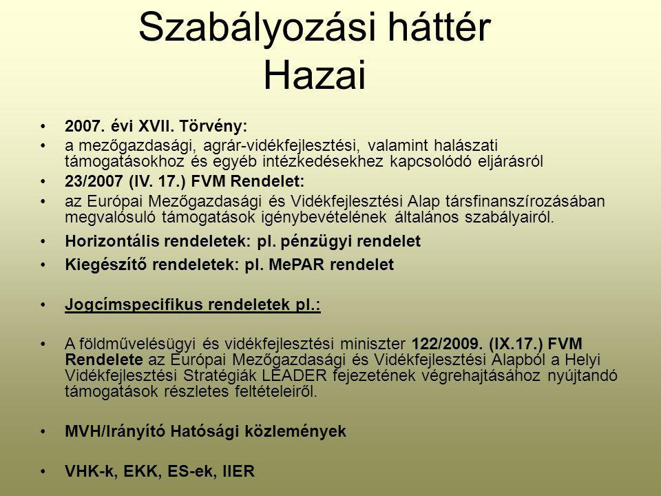 Szabályozási háttér Hazai 2007. évi XVII.