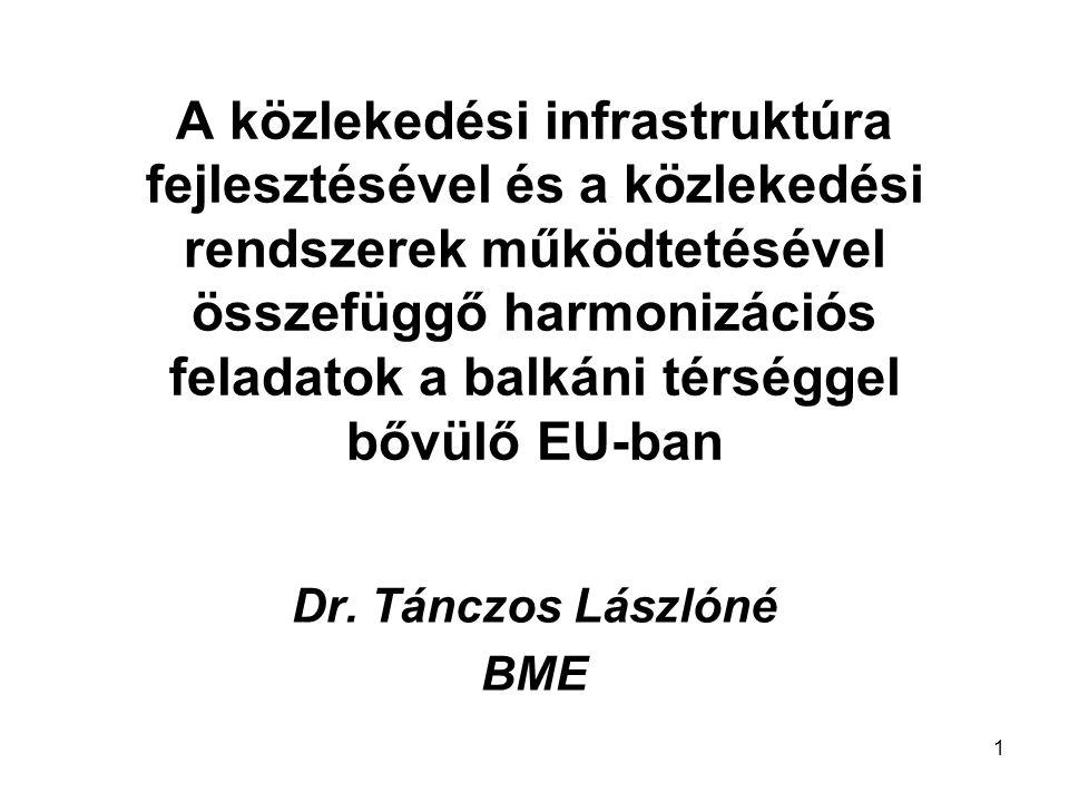 1 A közlekedési infrastruktúra fejlesztésével és a közlekedési rendszerek működtetésével összefüggő harmonizációs feladatok a balkáni térséggel bővülő