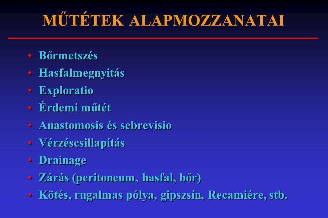 MŰTÉTEK ALAPMOZZANATAI Bőrmetszés Hasfalmegnyitás Exploratio Érdemi műtét Anastomosis és sebrevisio Vérzéscsillapítás Drainage Zárás (peritoneum, hasf