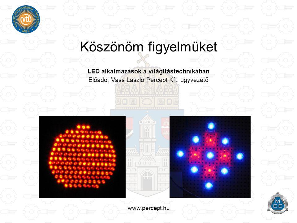 www.percept.hu Köszönöm figyelmüket LED alkalmazások a világítástechnikában Előadó: Vass László Percept Kft. ügyvezető