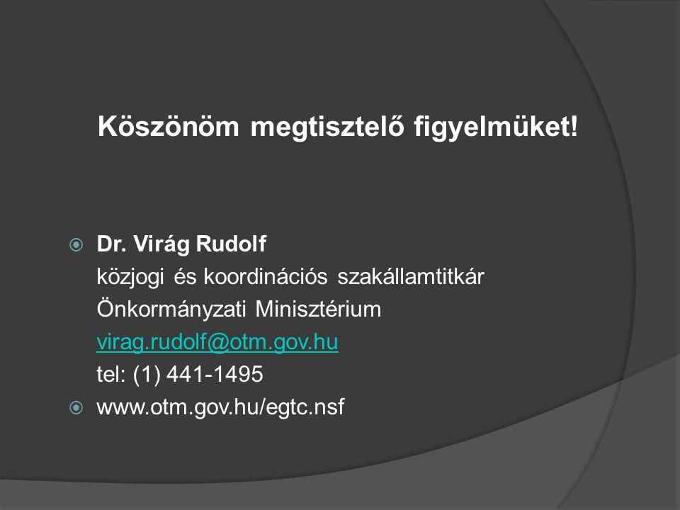 Köszönöm megtisztelő figyelmüket!  Dr. Virág Rudolf közjogi és koordinációs szakállamtitkár Önkormányzati Minisztérium virag.rudolf@otm.gov.hu tel: (