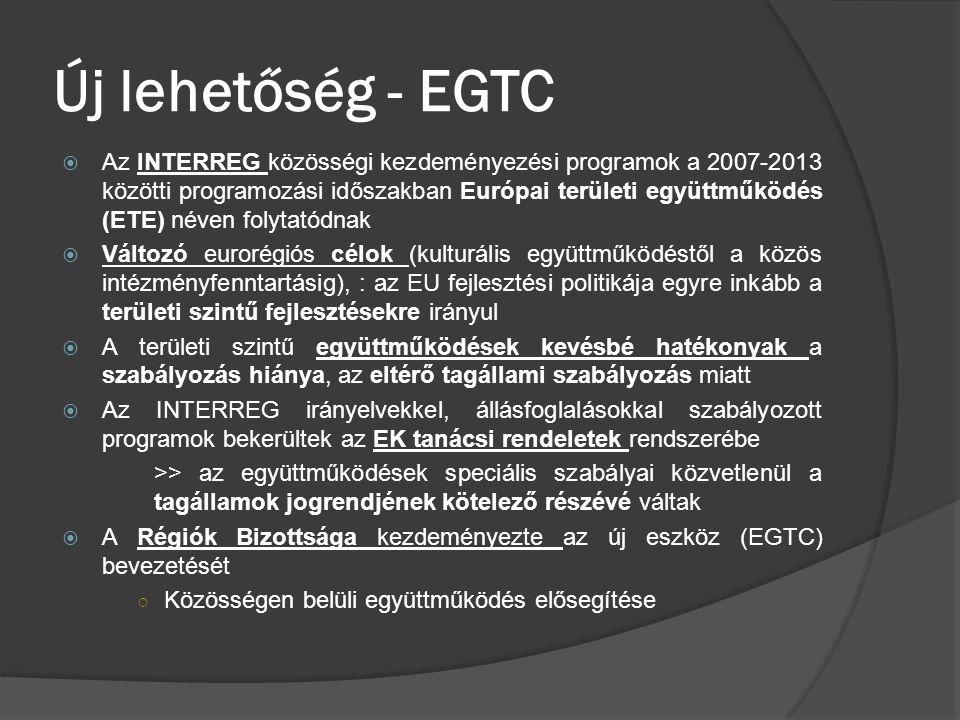 Új lehetőség - EGTC  Az INTERREG közösségi kezdeményezési programok a 2007-2013 közötti programozási időszakban Európai területi együttműködés (ETE)