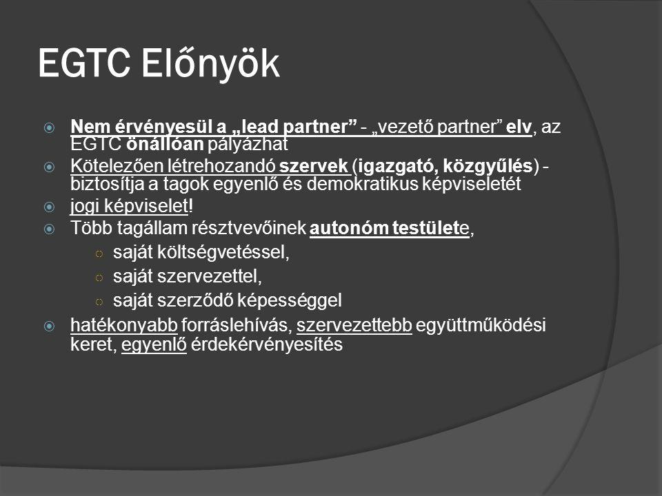 """EGTC Előnyök  Nem érvényesül a """"lead partner"""" - """"vezető partner"""" elv, az EGTC önállóan pályázhat  Kötelezően létrehozandó szervek (igazgató, közgyűl"""