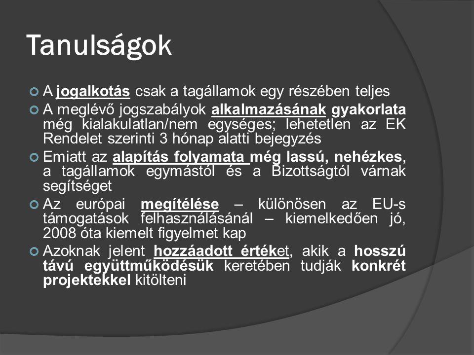 Tanulságok A jogalkotás csak a tagállamok egy részében teljes A meglévő jogszabályok alkalmazásának gyakorlata még kialakulatlan/nem egységes; lehetet