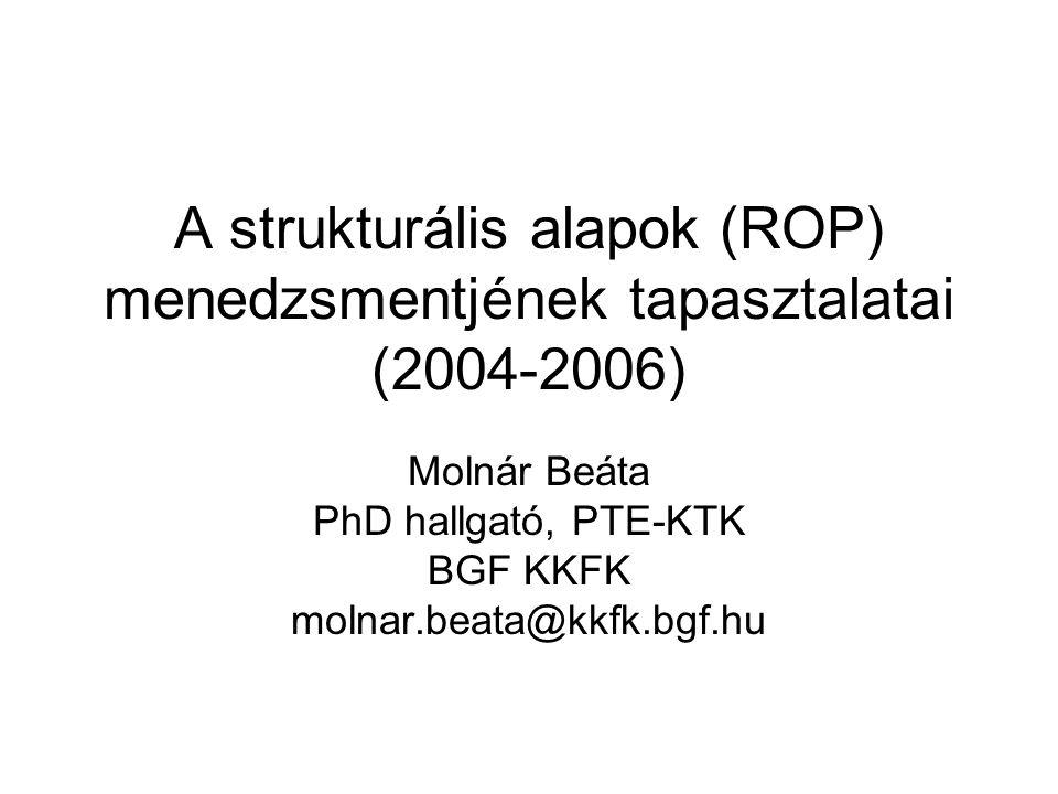 A ROP végrehajtásának (centralizált) intézményrendszere (2004-2006) NFT szintű koordináció: Miniszter (EU, MEH) KTK IH, MB: NFH (NFÜ) KH: PM ROP: Miniszter (regionális fejlesztési, MEH) ROP IH, MB: OTH (NFÜ) KSZ-ek: RFÜ-k, VÁTI
