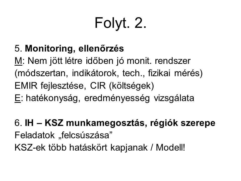 Folyt. 2. 5. Monitoring, ellenőrzés M: Nem jött létre időben jó monit.