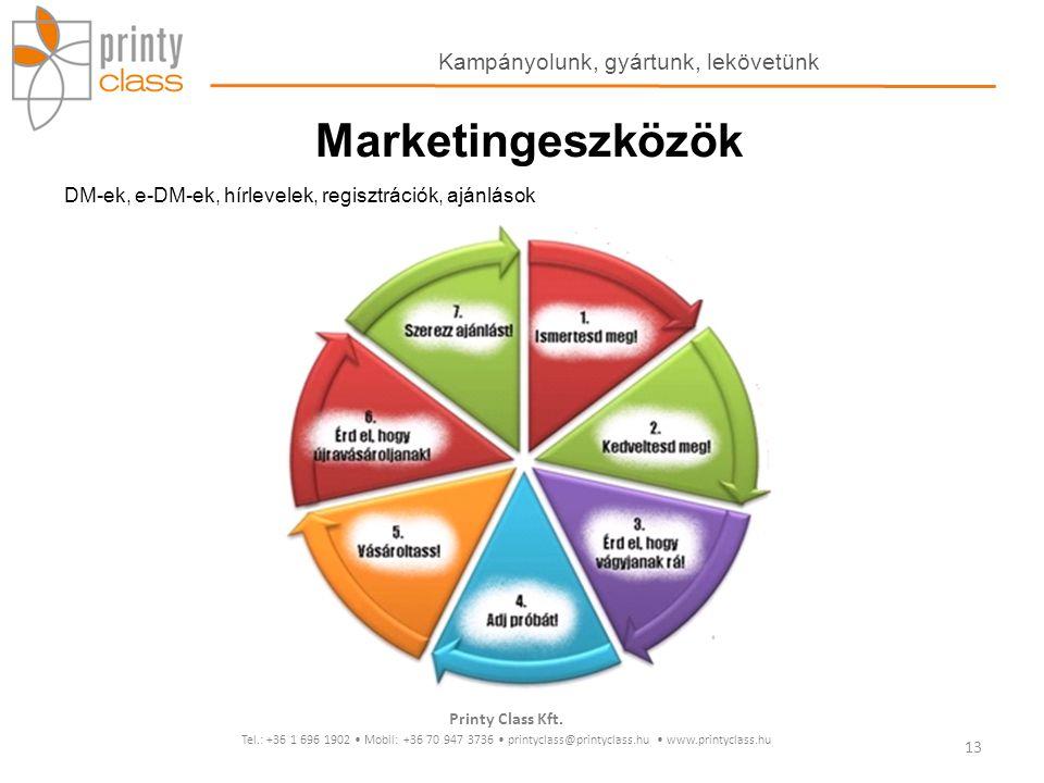Marketingeszközök DM-ek, e-DM-ek, hírlevelek, regisztrációk, ajánlások Printy Class Kft. Tel.: +36 1 696 1902 Mobil: +36 70 947 3736 printyclass@print