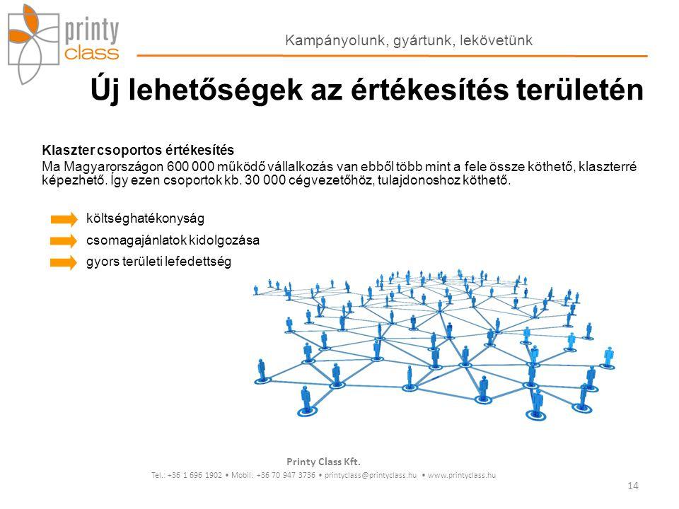 Klaszter csoportos értékesítés Ma Magyarországon 600 000 működő vállalkozás van ebből több mint a fele össze köthető, klaszterré képezhető. Így ezen c