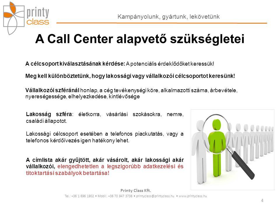A Call Center alapvető szükségletei A célcsoport kiválasztásának kérdése: A potenciális érdeklődőket keressük! Meg kell különböztetünk, hogy lakossági