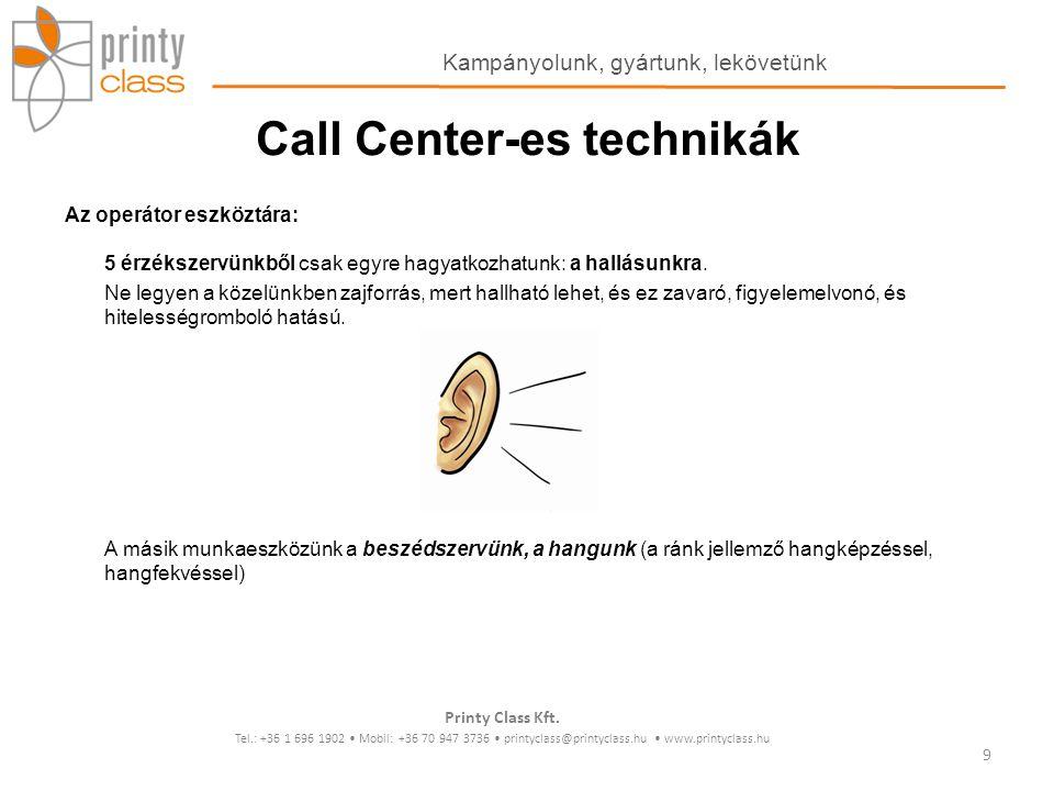Kommunikációs csatornák különbségei A telefonos kommunikáció sajátosságai: a kommunikáció megértésében szerepet játszó csatornák észlelése mennyiségi szempontok alapján: Személyes kommunikáció 55 % testbeszéd 38 % hangnem, hangszín, hangminőség 7 % a kimondott szavak Telefonos kommunikáció 82 % hangnem, hangszín, hangminőség 15% a kimondott szavak 3% a háttér zaj Printy Class Kft.