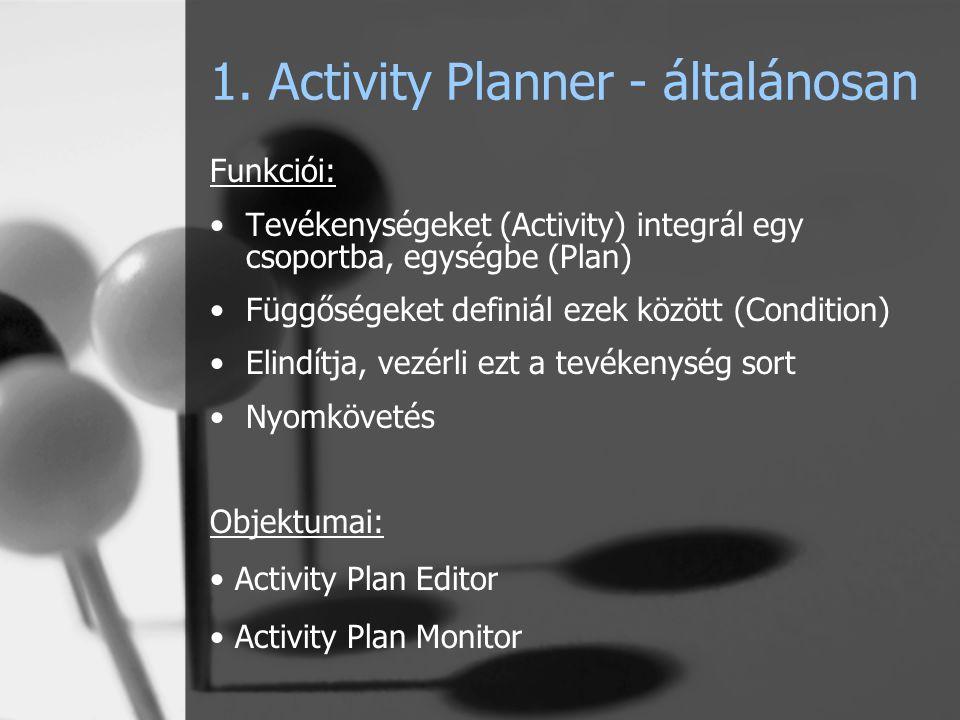 1. Activity Planner - általánosan Funkciói: Tevékenységeket (Activity) integrál egy csoportba, egységbe (Plan) Függőségeket definiál ezek között (Cond