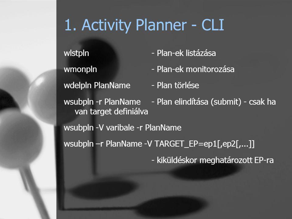 1. Activity Planner - CLI wlstpln- Plan-ek listázása wmonpln- Plan-ek monitorozása wdelpln PlanName- Plan törlése wsubpln -r PlanName- Plan elindítása