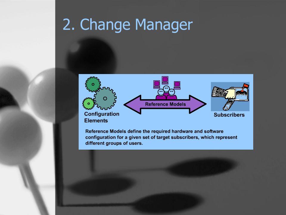 Jellemzői: 'Deploment Service' Activity Planner szükséges hozzá HW-SW feltételek szabhatók a Config.Elements-hez RM hierarchikus rendbe helyezhetők Objektumai: Reference Model Configuration Element Subscriber