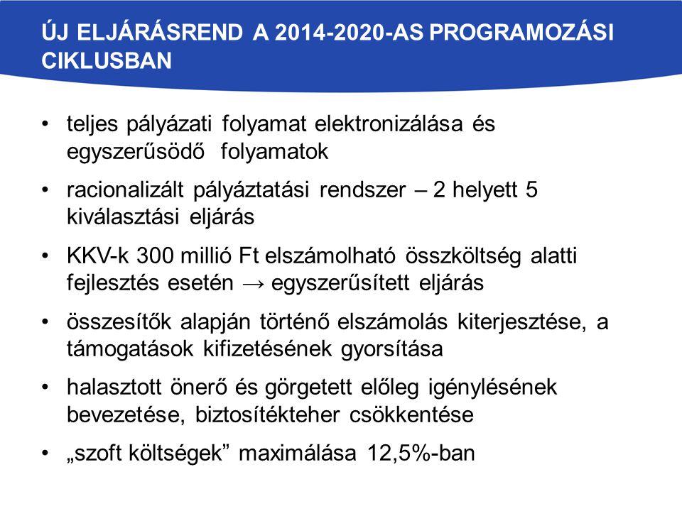 """ÚJ ELJÁRÁSREND A 2014-2020-AS PROGRAMOZÁSI CIKLUSBAN teljes pályázati folyamat elektronizálása és egyszerűsödő folyamatok racionalizált pályáztatási rendszer – 2 helyett 5 kiválasztási eljárás KKV-k 300 millió Ft elszámolható összköltség alatti fejlesztés esetén → egyszerűsített eljárás összesítők alapján történő elszámolás kiterjesztése, a támogatások kifizetésének gyorsítása halasztott önerő és görgetett előleg igénylésének bevezetése, biztosítékteher csökkentése """"szoft költségek maximálása 12,5%-ban"""