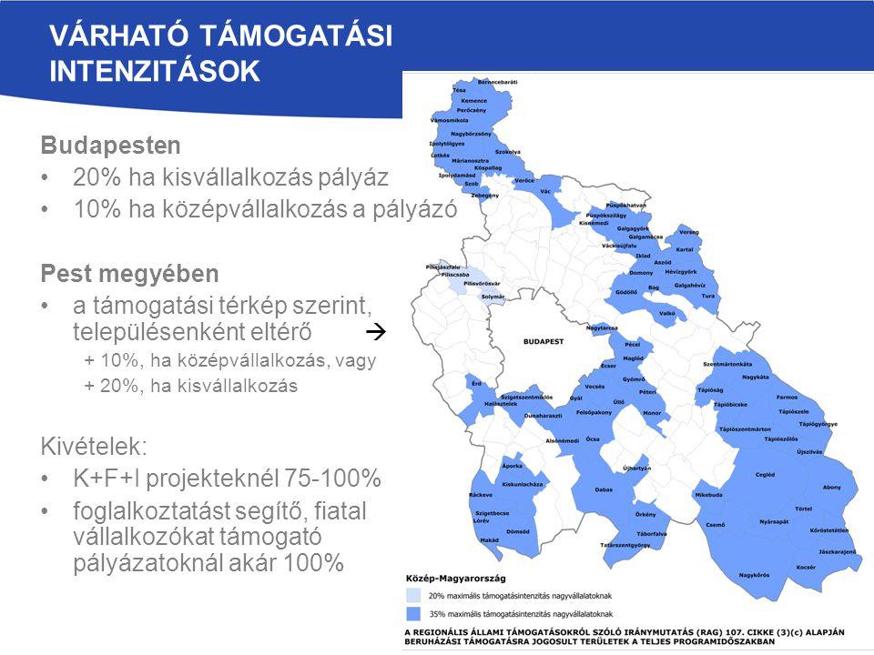 VÁRHATÓ TÁMOGATÁSI INTENZITÁSOK Budapesten 20% ha kisvállalkozás pályáz 10% ha középvállalkozás a pályázó Pest megyében a támogatási térkép szerint, településenként eltérő  + 10%, ha középvállalkozás, vagy + 20%, ha kisvállalkozás Kivételek: K+F+I projekteknél 75-100% foglalkoztatást segítő, fiatal vállalkozókat támogató pályázatoknál akár 100%