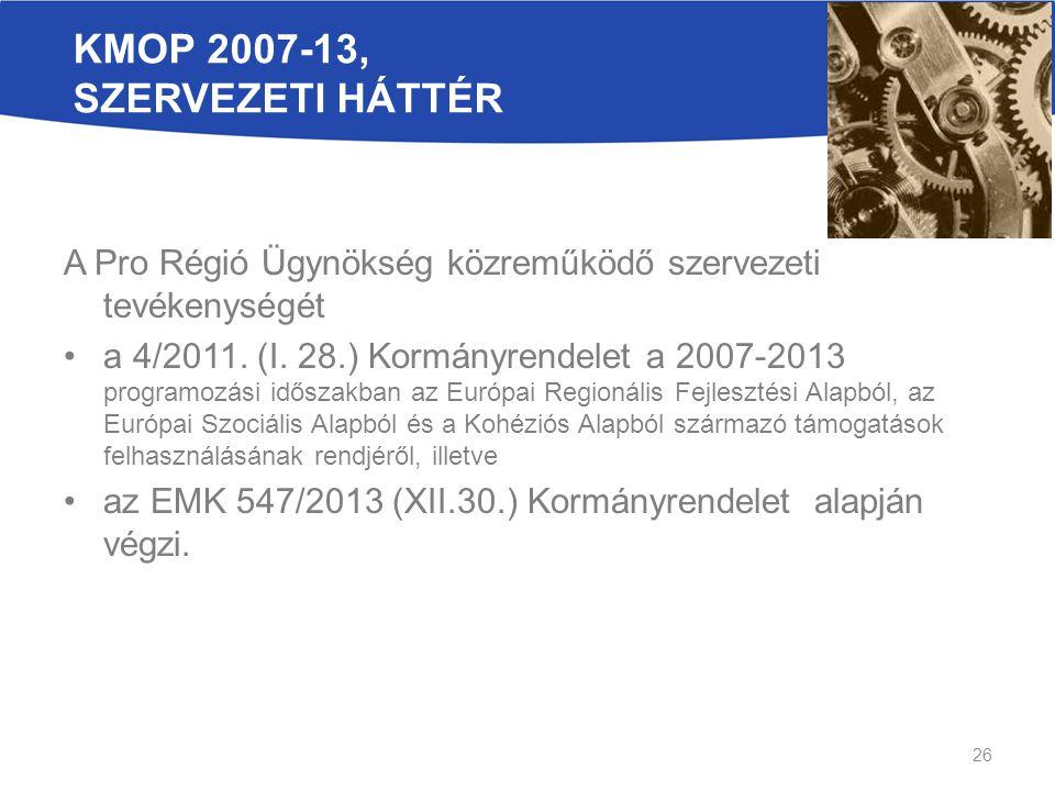 26 KMOP 2007-13, SZERVEZETI HÁTTÉR A Pro Régió Ügynökség közreműködő szervezeti tevékenységét a 4/2011.