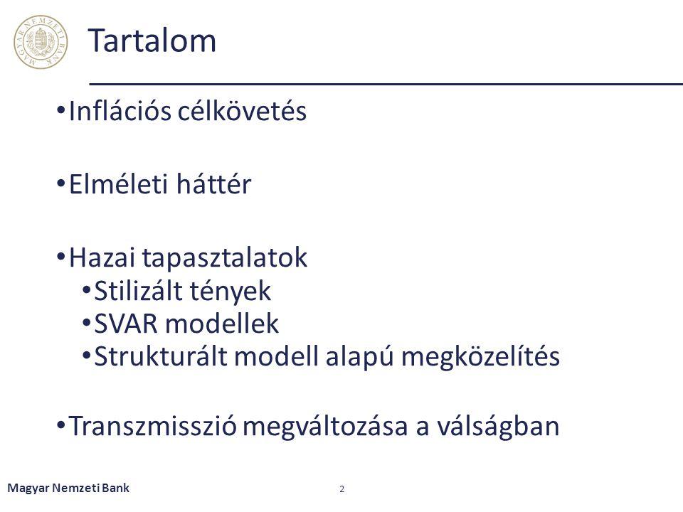 Tartalom Inflációs célkövetés Elméleti háttér Hazai tapasztalatok Stilizált tények SVAR modellek Strukturált modell alapú megközelítés Transzmisszió m