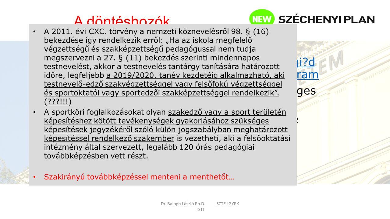 Sport képesítési kormányrendelet http://net.jogtar.hu/jr/gen/hjegy_doc.cgi?d ocid=A0400157.KOR&celpara=#xcelparam Testnevelő tanár (A.