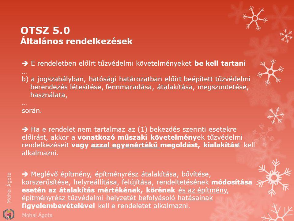 OTSZ 5.0 Általános rendelkezések  E rendeletben előírt tűzvédelmi követelményeket be kell tartani … b) a jogszabályban, hatósági határozatban előírt