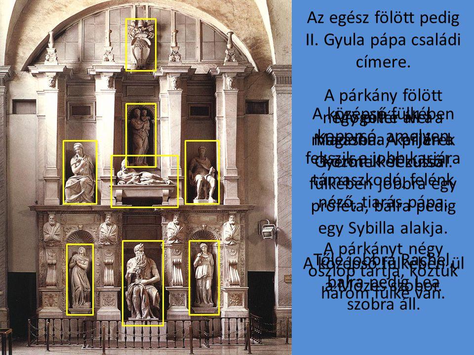 A párkányt négy oszlop tartja, köztük három fülke van. A síremléket, mely egy homlokzatszerű márványépítmény, keskeny párkány két részre osztja.