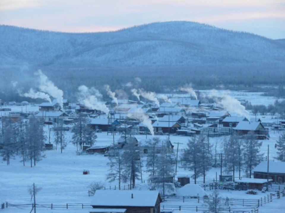 The town is located in the Russian republic of Yakutia in Siberia, on a plateau 750 meters above sea level. The winter last for 9 months here. The cli