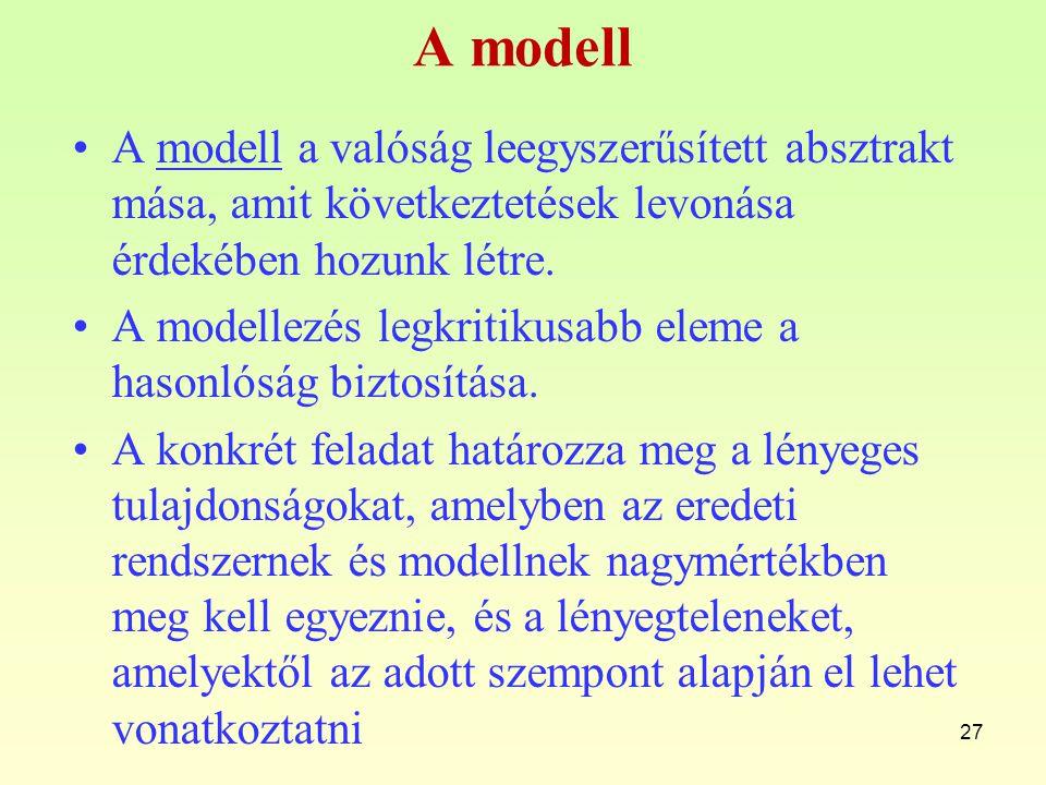 A modell A modell a valóság leegyszerűsített absztrakt mása, amit következtetések levonása érdekében hozunk létre.