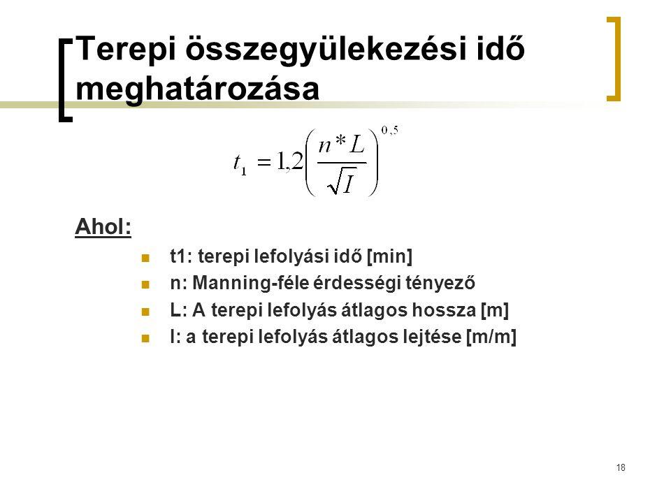 18 Terepi összegyülekezési idő meghatározása Ahol: t1: terepi lefolyási idő [min] n: Manning-féle érdességi tényező L: A terepi lefolyás átlagos hossza [m] I: a terepi lefolyás átlagos lejtése [m/m]