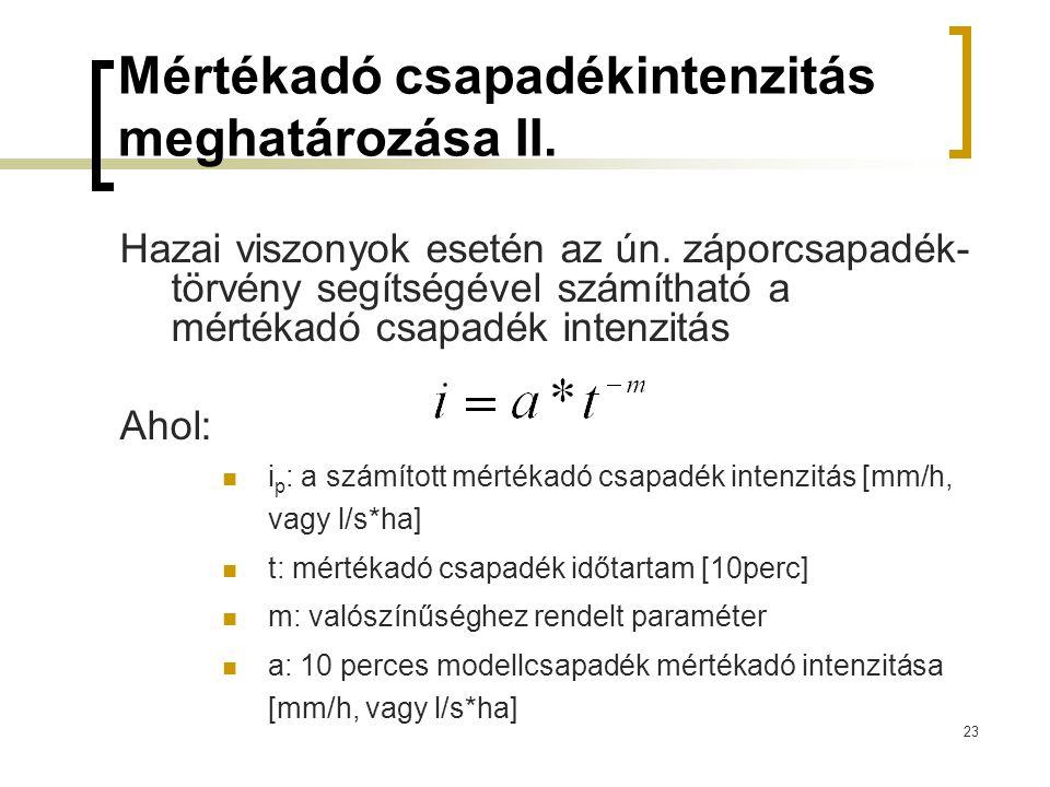 23 Mértékadó csapadékintenzitás meghatározása II.Hazai viszonyok esetén az ún.