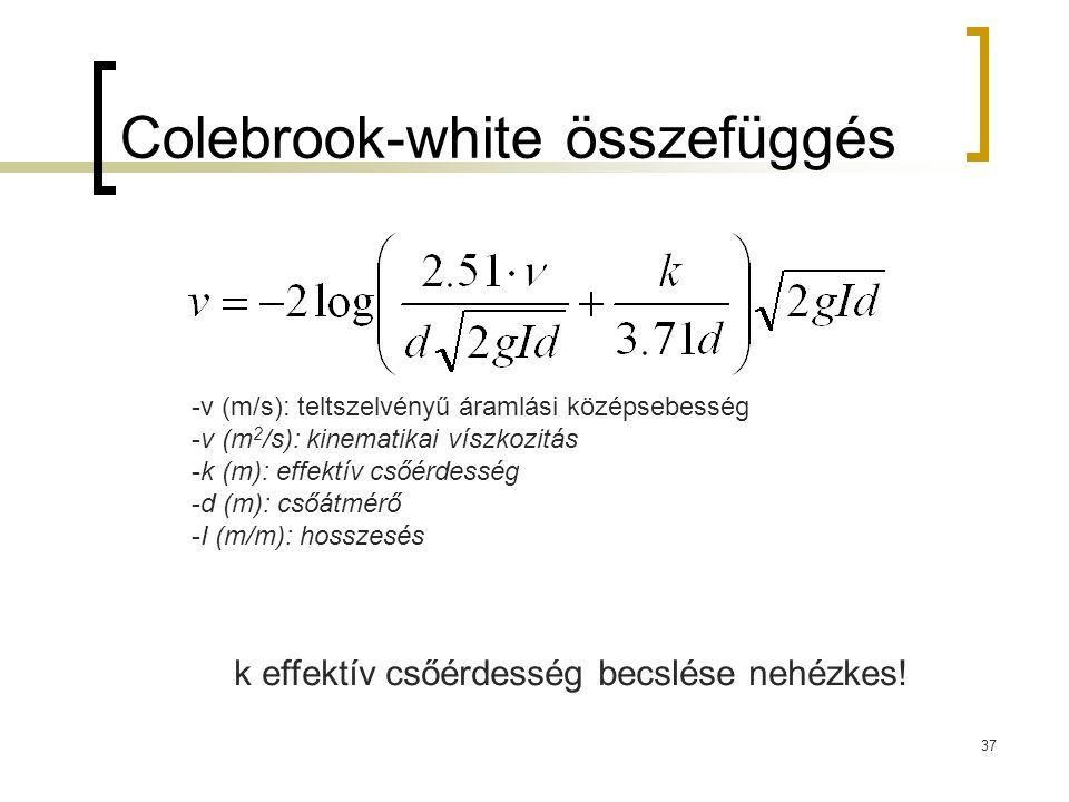 Colebrook-white összefüggés 37 -v (m/s): teltszelvényű áramlási középsebesség -ν (m 2 /s): kinematikai víszkozitás -k (m): effektív csőérdesség -d (m): csőátmérő -I (m/m): hosszesés k effektív csőérdesség becslése nehézkes!