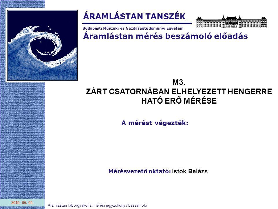 Áramlástan mérés beszámoló előadás Budapesti Műszaki és Gazdaságtudományi Egyetem ÁRAMLÁSTAN TANSZÉK 2010.