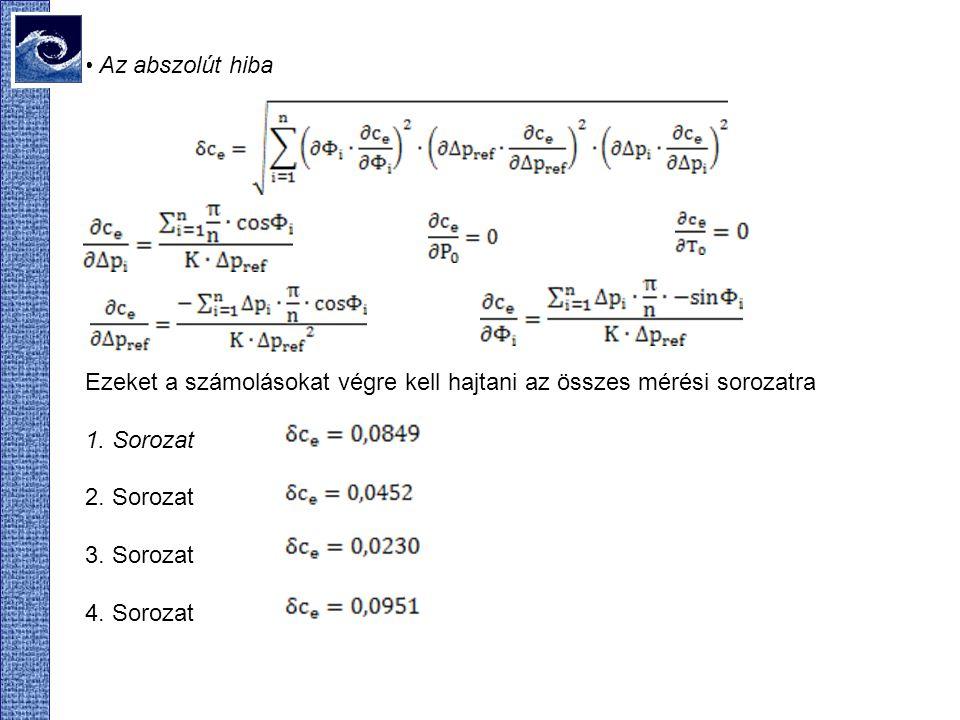 Az abszolút hiba Ezeket a számolásokat végre kell hajtani az összes mérési sorozatra 1.