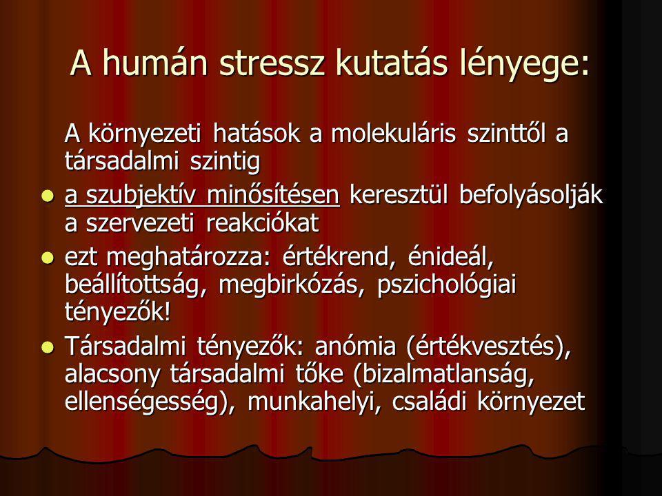 McEwen: N Engl J Med: 338(3):171-9 A stresszorok hatásmechanizmusa: Inger(stresszor)MinősítésMegbirkózás Stressz reakció
