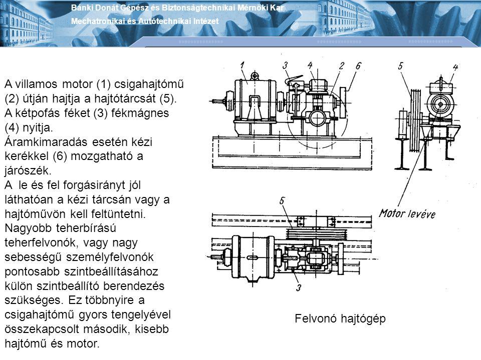 Bánki Donát Gépész és Biztonságtechnikai Mérnöki Kar Mechatronikai és Autótechnikai Intézet A villamos motor (1) csigahajtómű (2) útján hajtja a hajtó