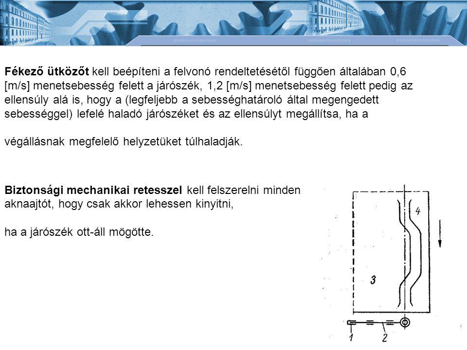 Fékező ütközőt kell beépíteni a felvonó rendeltetésétől függően általában 0,6 [m/s] menetsebesség felett a járószék, 1,2 [m/s] menetsebesség felett pe