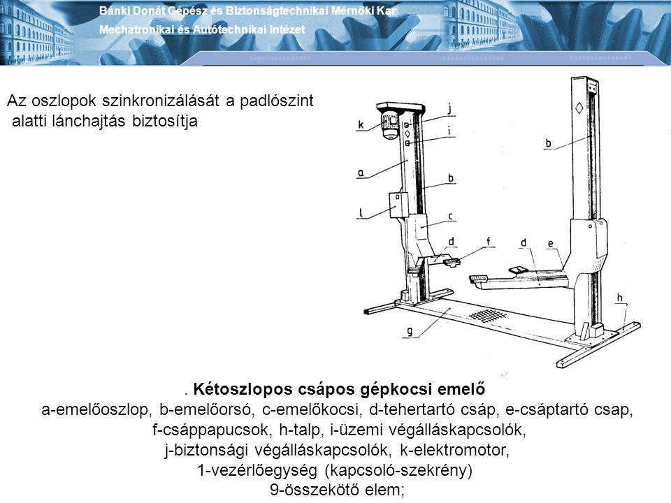 Bánki Donát Gépész és Biztonságtechnikai Mérnöki Kar Mechatronikai és Autótechnikai Intézet. Kétoszlopos csápos gépkocsi emelő a-emelőoszlop, b-emelőo