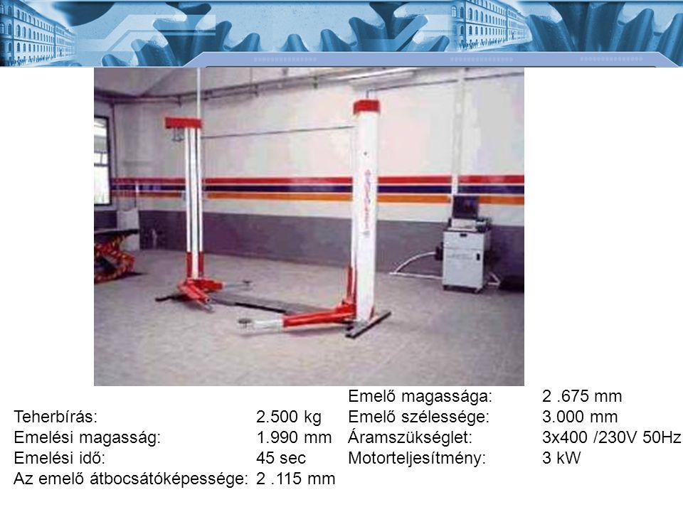 Teherbírás: Emelési magasság: Emelési idő: Az emelő átbocsátóképessége: 2.500 kg 1.990 mm 45 sec 2.115 mm Emelő magassága: Emelő szélessége: Áramszüks