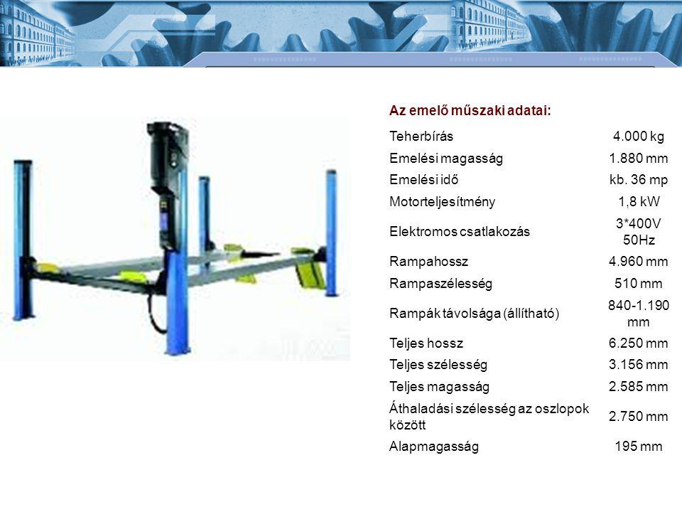 Az emelő műszaki adatai: Teherbírás4.000 kg Emelési magasság1.880 mm Emelési időkb. 36 mp Motorteljesítmény1,8 kW Elektromos csatlakozás 3*400V 50Hz R