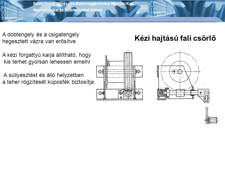 Bánki Donát Gépész és Biztonságtechnikai Mérnöki Kar Mechatronikai és Autótechnikai Intézet Kézi hajtású fali csörlő A dobtengely és a csigatengely he