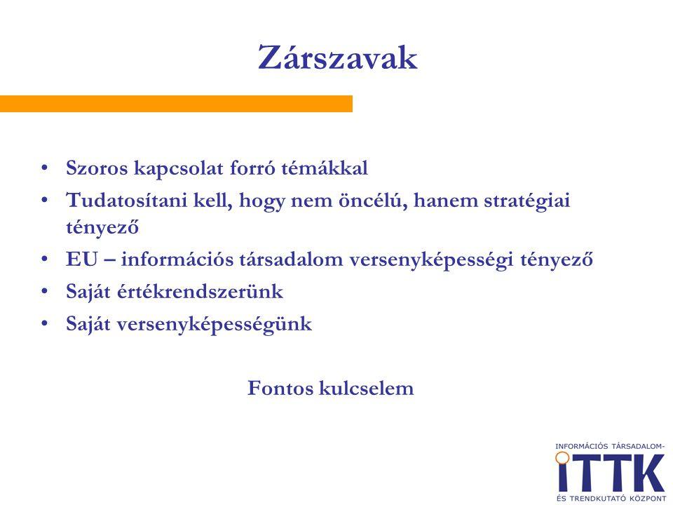 Zárszavak Szoros kapcsolat forró témákkal Tudatosítani kell, hogy nem öncélú, hanem stratégiai tényező EU – információs társadalom versenyképességi tényező Saját értékrendszerünk Saját versenyképességünk Fontos kulcselem