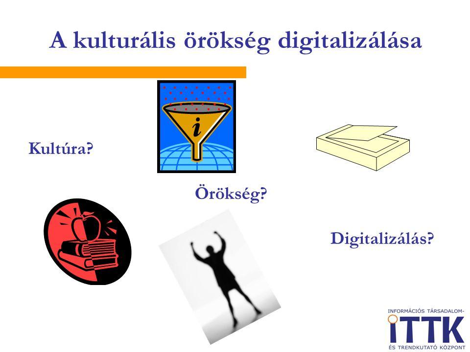 A kulturális örökség digitalizálása Kultúra Örökség Digitalizálás